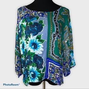 Anthropologie Tiny patchwork floral top blue L